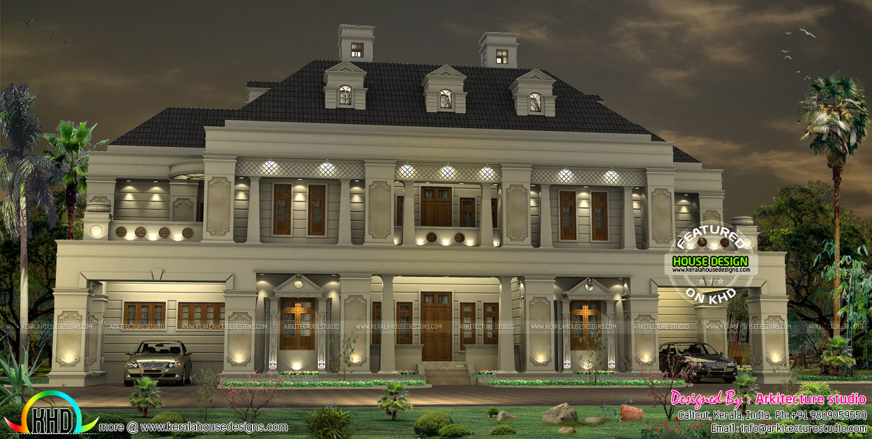 Palace like colonial home kerala home design and floor plans for Colonial style house plans kerala