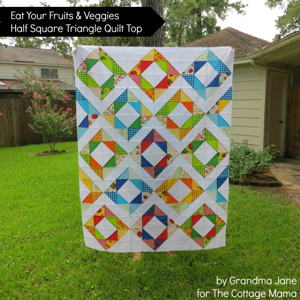 Eat Your Fruits And Veggies Half Square Triangle Quilt Top The