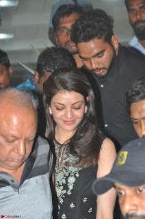 Kajal Aggarwal in lovely Black Sleeveless Anarlaki Dress in Hyderabad at Launch of Bahar Cafe at Madinaguda 001.JPG