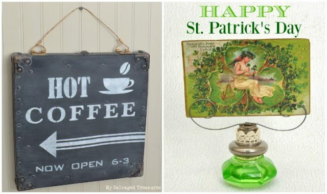Hot Coffee sign and St. Patrick's Day greeting with vintage doorknob