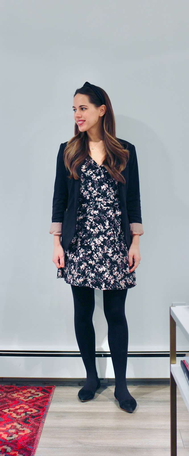 Jules in Flats - Floral Mini Wrap Dress with Blazer (Business Casual Winter Workwear on a Budget)