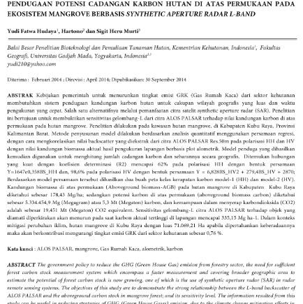 Pendugaan Potensi Cadangan Karbon Hutan di Atas Permukaan pada Ekosistem Mangrove [PAPER]