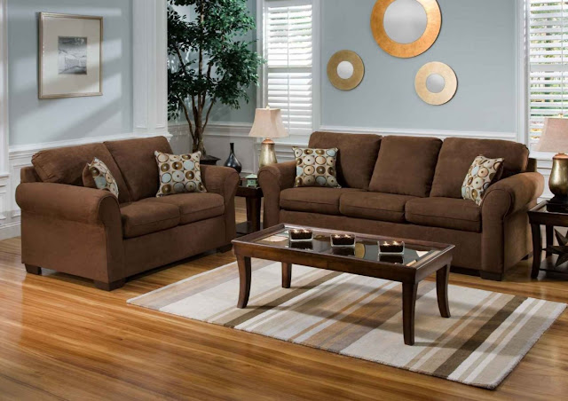 interior design ideas for living room with brown sofa