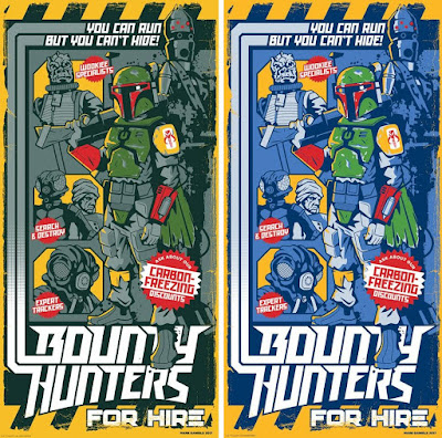 "Star Wars Day 2018 Exclusive Star Wars ""Bounty Hunters for Hire"" Screen Print by Mark Daniels x Dark Ink Art"