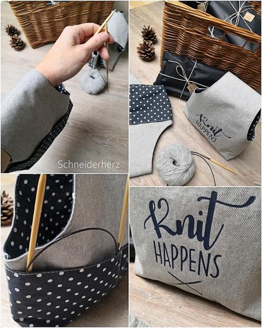 Projekttasche Stricken für das Handgelenk