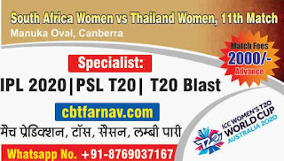 South Africa Women vs Thailand Women ICC Women's T20 World Cup 11th T20 100% Sure