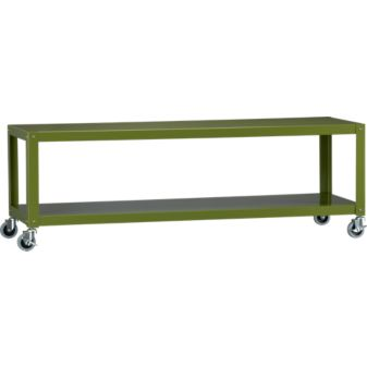 Steel two shelf media cart with green powdercoat finish
