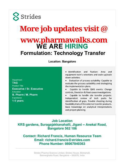 Urgent job opportunities for Technology Transfer @ Strides Pharma