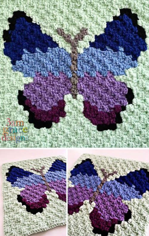 Butterfly C2C Square - Free Pattern