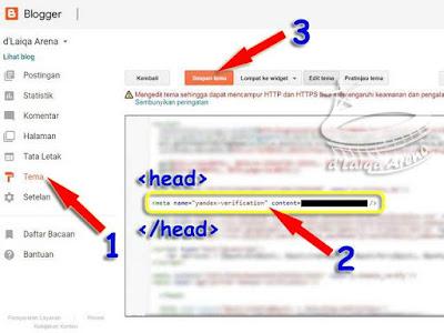 selipkan baris kode meta tag pada baris kode tema blog