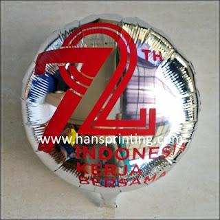 "Printing Balon Foil / Sablon Balon Foil ""72 TAHUN INDONESIA KERJA BERSAMA"""