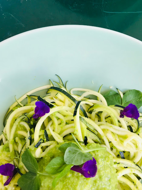 Passionately Raw! - Raw Zucchini Pasta With Fresh Wasabi Spiced Sauce