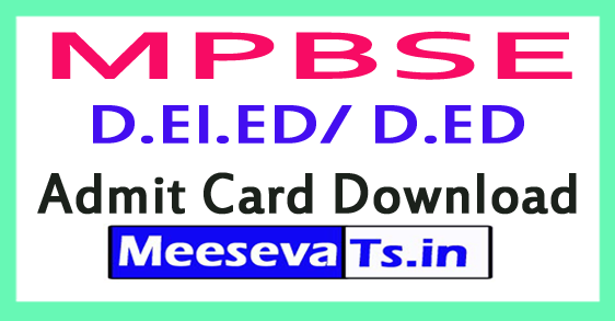 MP Board D.El.ED/ D.ED 1st-2nd Year Admit Card Hallticket Download 2017