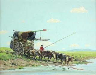"""""""Carreta vadeando un río"""" (por Tito Saubidet)"""