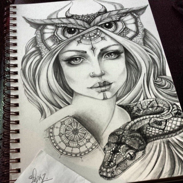 01-Owl-and-Snake-Steph-Diaz-Zahalka-A-Compilation-of-Different-Portrait-Style-Drawings-www-designstack-co
