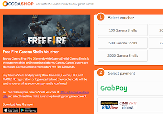 Cara Top Up Free Fire Diamonds Garena Shells di Codashop 2020