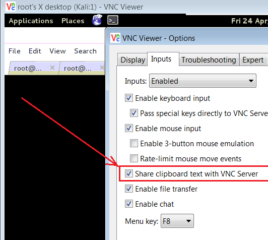 VNC Viewer Copy Paste does not work in Kali - Windows