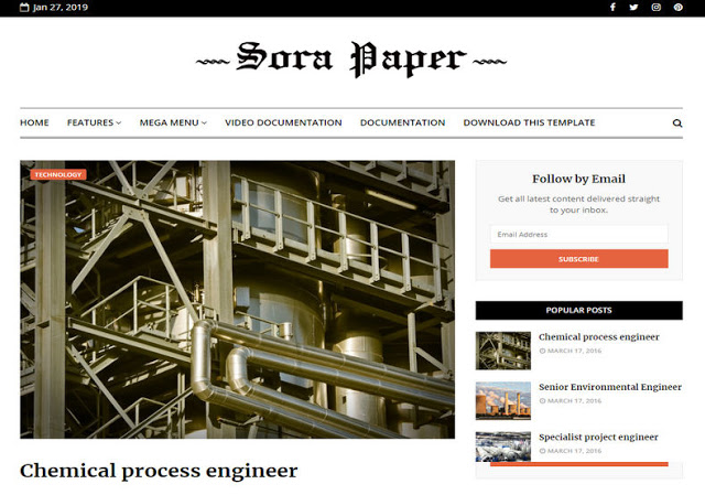 Sora Paper mobile friendly blogger template free