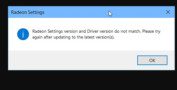 radeon settings version and driver version dont match