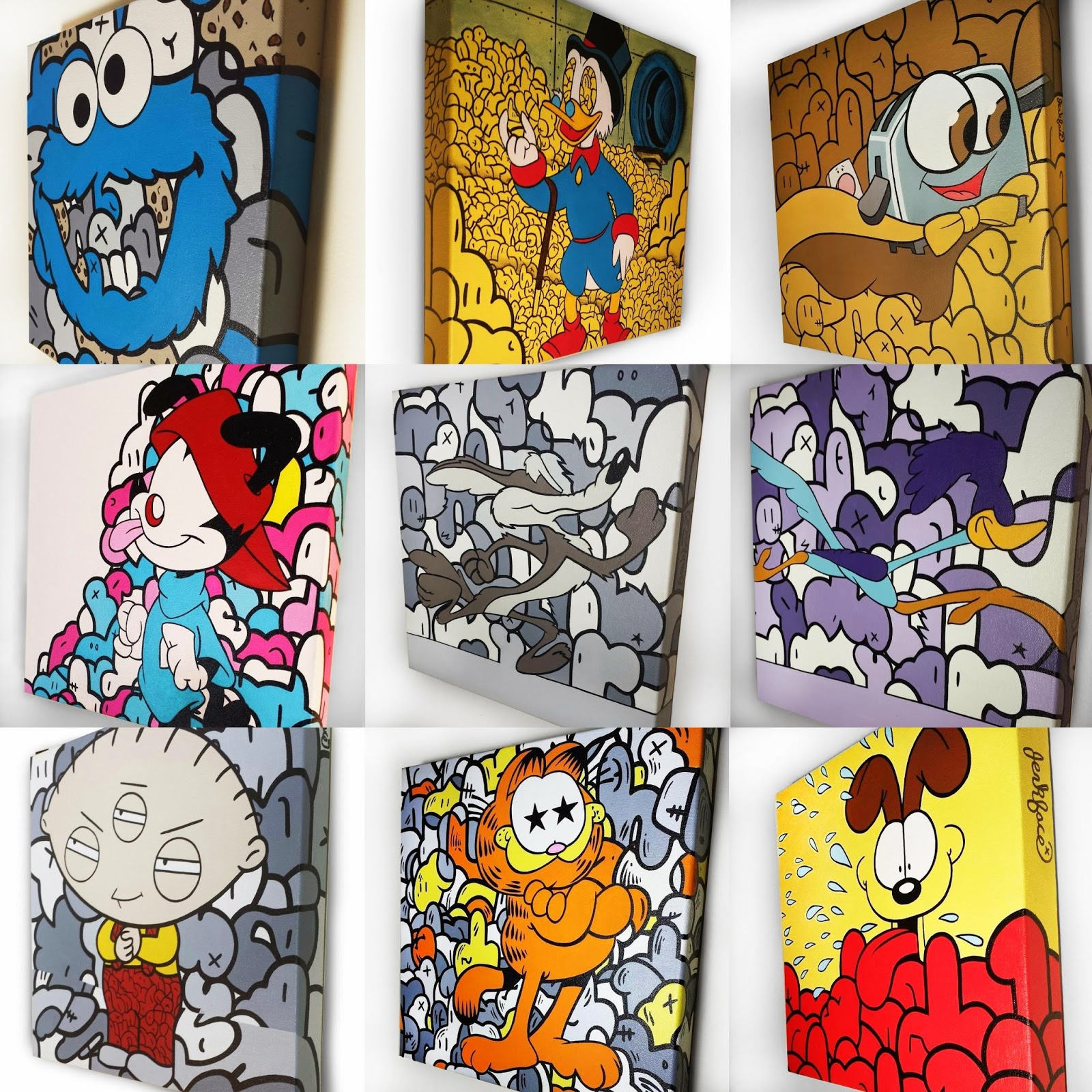 """30 Days of Jerk"" Pop Culture Painting Series by Jerkface - Sesame Street Cookie Monster, DuckTales Scrooge McDuck, Brave Little Toaster, Animaniacs, Wylie E Coyote & Road Runner, Family Guy, Garfield & Odie"