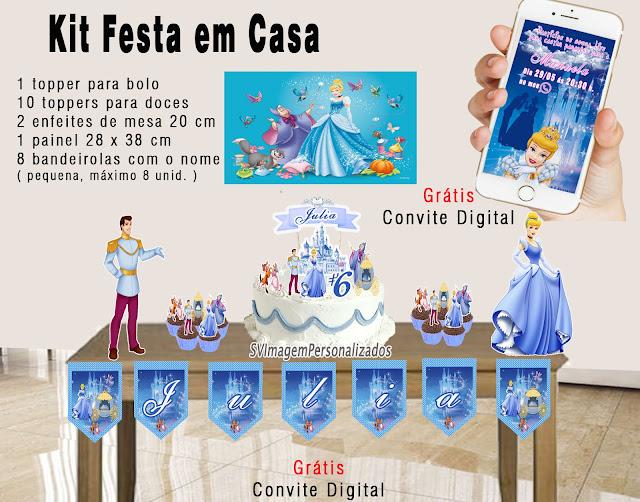 Cinderela Princesa Disney dicas e ideias para decoração de festa personalizados kit festa em casa