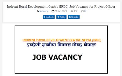 Indreni Rural Development Centre Vacancy Announcement