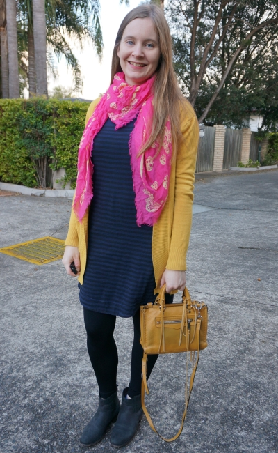 navy stripe tee dress in colourful winter outfit with pink scarf, mustard cardigan and rebecca minkoff micro regan bag | awayfromblue