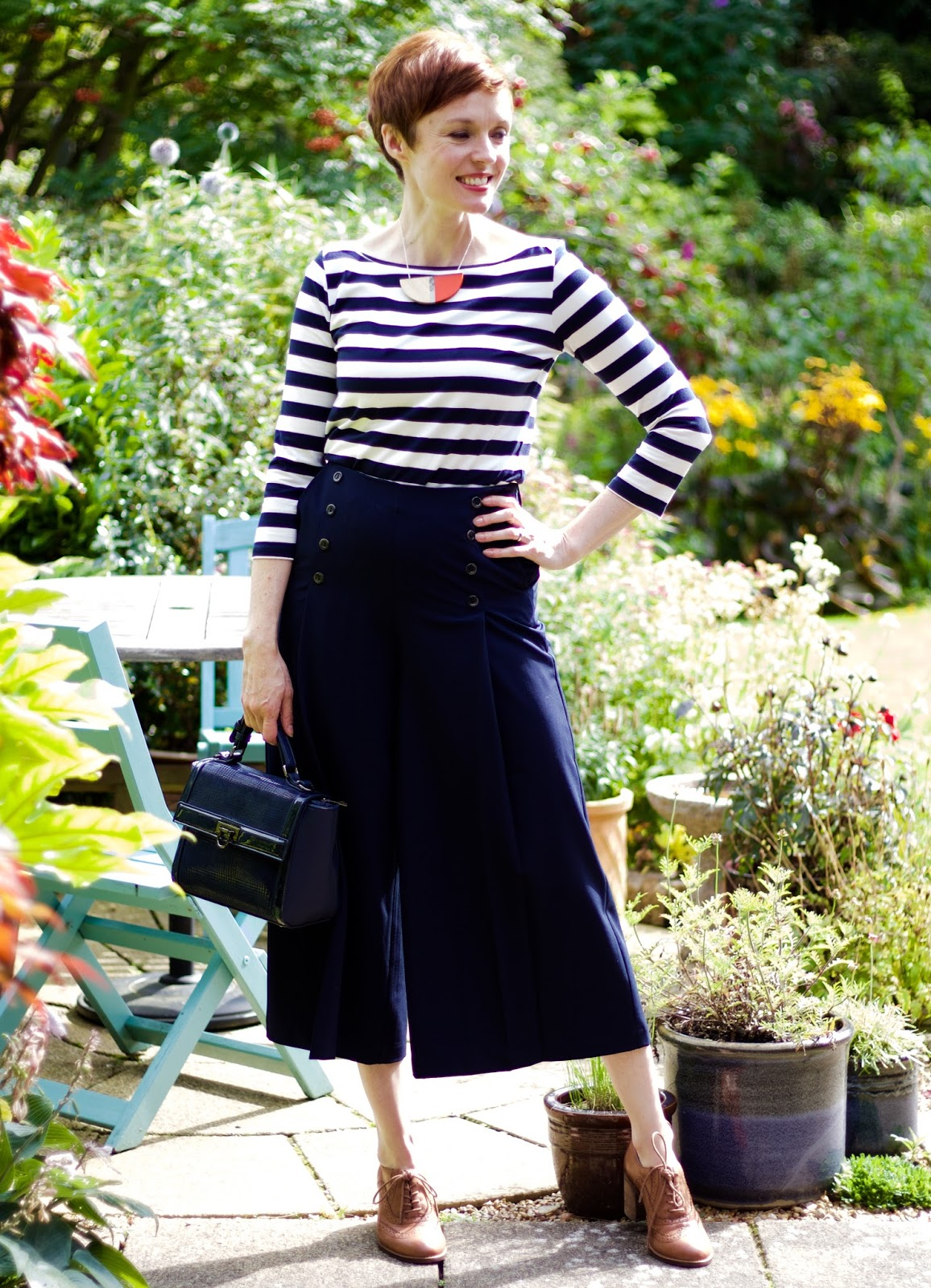 Classic Breton Top & Navy Culottes | Nautical Style, over 40