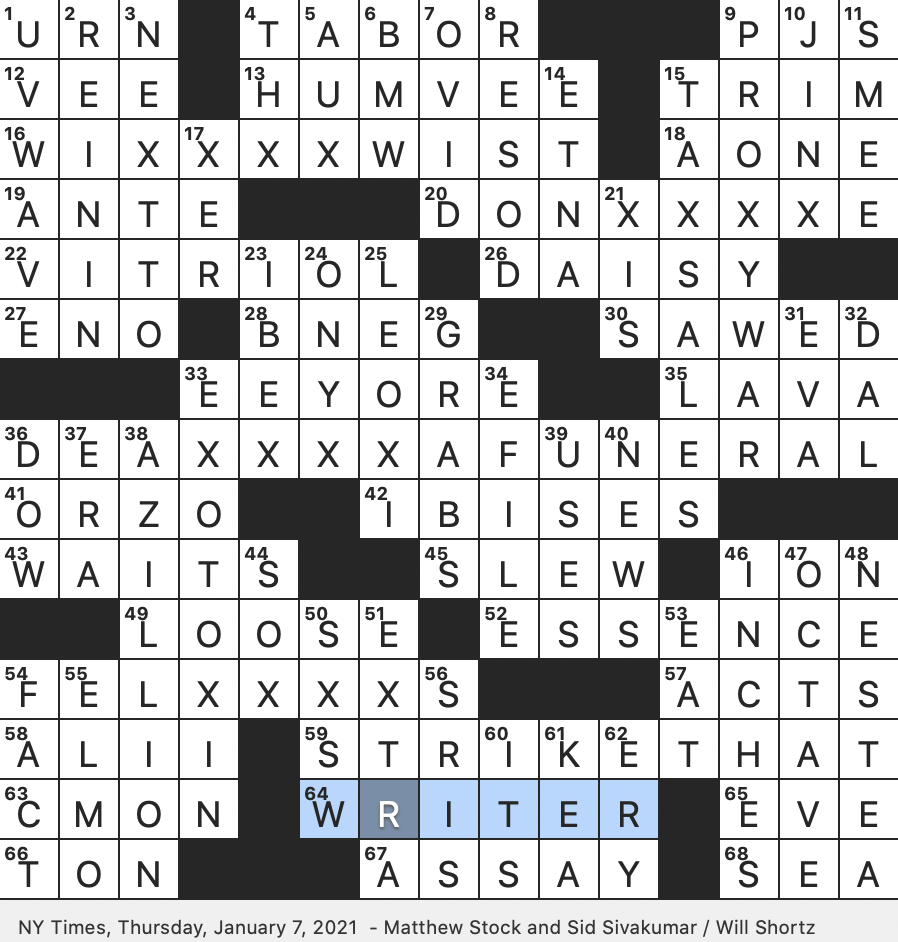 Rex Parker Does The Nyt Crossword Puzzle 2007 Black Comedy Directed By Frank Oz Thu 1 7 21 Drum Typically Played With One Hand Thanks For Noticing Me Character Of Kid Lit Pope Whose Pontificate Lasted Less Than One Month In 1605 Italian