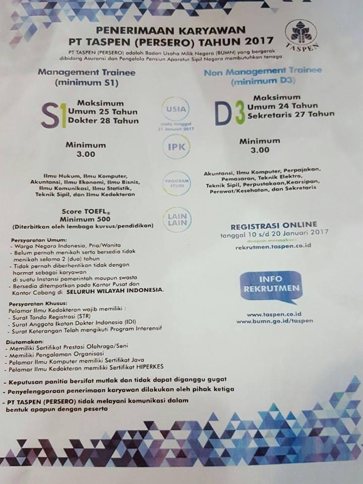 Rekrutmen PT TASPEN Tahun 2017