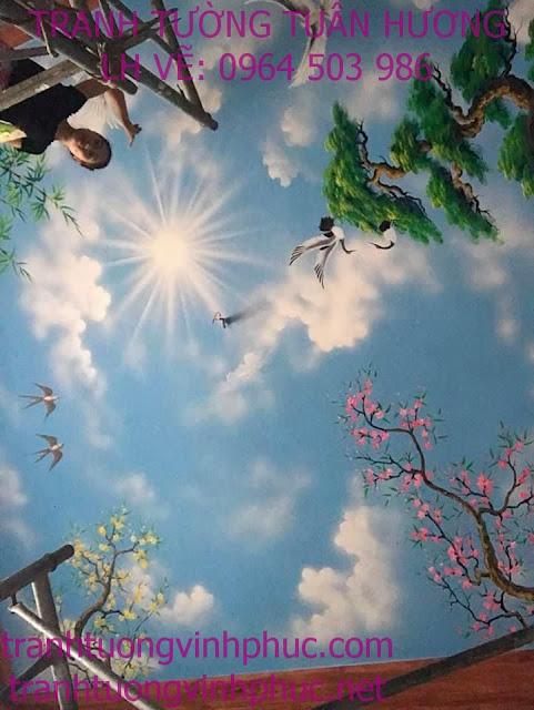 vẽ trần mây 3d tại bạch hạc vĩnh tường