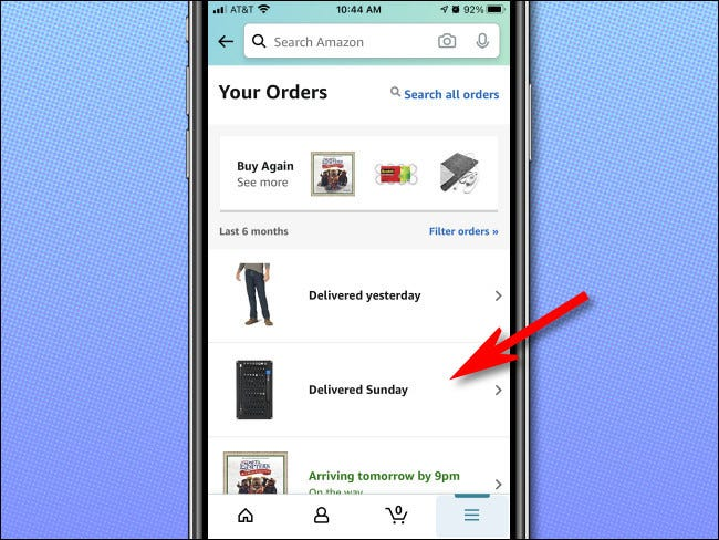 """اضغط على طلب من القائمة في صفحة """"طلباتك"""" لرؤيته بمزيد من التفاصيل."""