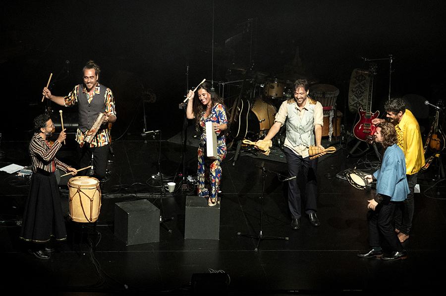 D'esquerra a dreta, Carlos Monfort, Aleix Tobias, Sílvia Pérez Cruz, Publio Delgado, Bori Albero i Marco Mezquida, Auditorio del Kursaal, Donostia, 25-jul-2021