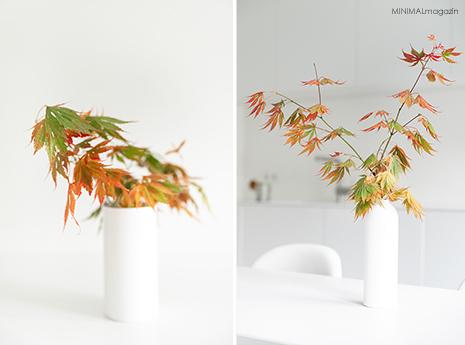 Herbstdekoration mit Ahornzweigen in der Vase.