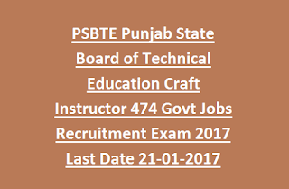 PSBTE Punjab State Board of Technical Education Craft Instructor 474 Govt Jobs Recruitment Exam 2017 Last Date 21-01-2017
