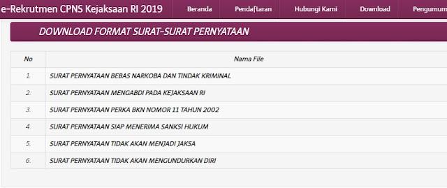 Download Berkas Surat Pernyataan CPNS Kejaksaan Agung 2019 ...