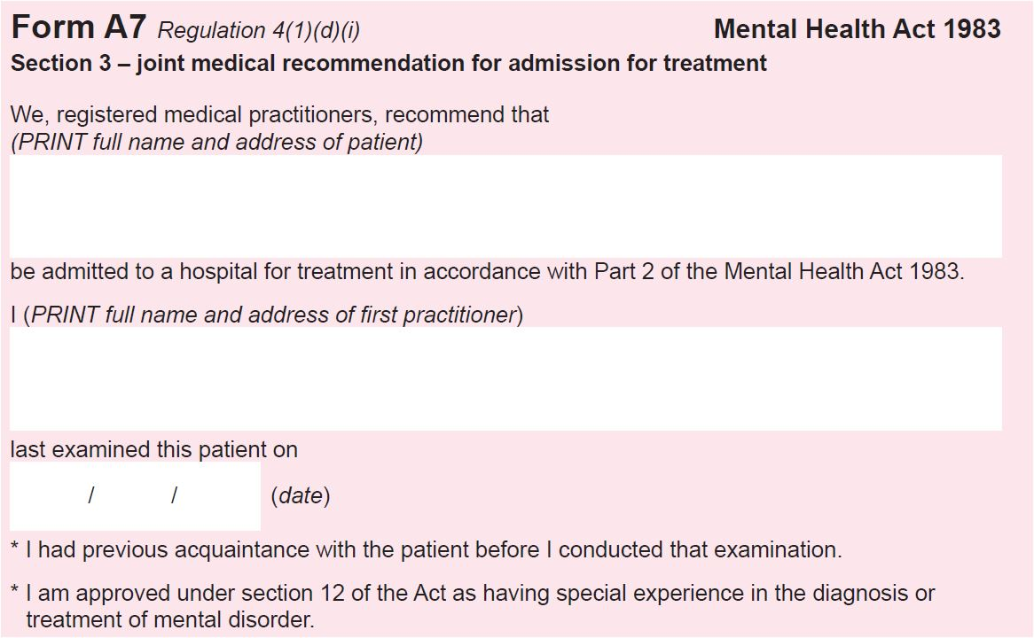 """The Masked AMHP: Section 3 and """"appropriate medical treatment"""""""