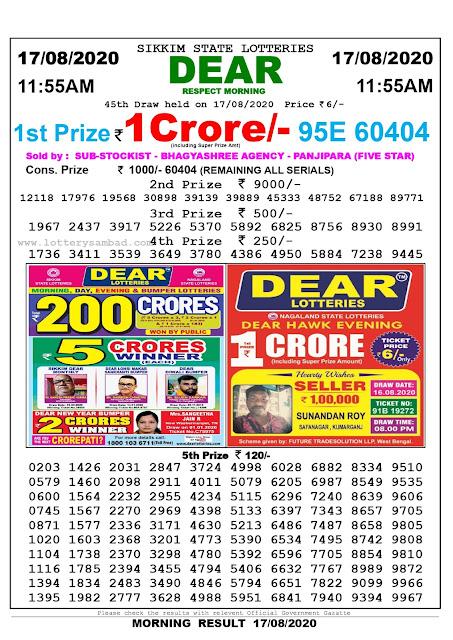 Lottery Sambad Result 17.08.2020 Dear Respect Morning 11:55 am