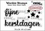 "Set van 3 clearstempels, 2 stempels voor ""fijne kerstdagen"" en 1 stempel met sterren. Set of 3 clear-stamps, 2 stamps for ""Merry Christmas"" (Dutch words) and 1 stamp with stars."