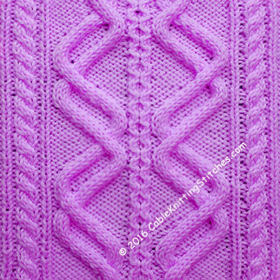 This cable pattern uses a combination of Double Waves, Little Honeycomb stitch and 2/2 Right Cross,  2/2 Left Cross.