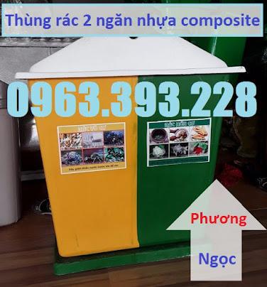 Thùng rác nhựa composite, thùng rác 2 ngăn, thùng phân loại rác TR2N3