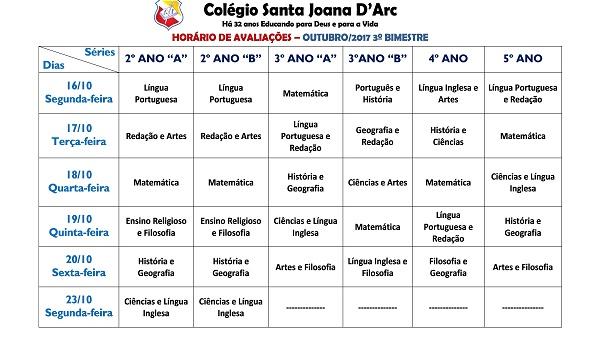 CALENDÁRIO DE PROVAS - 3ª UNIDADE - FUNDAMENTAL I E II