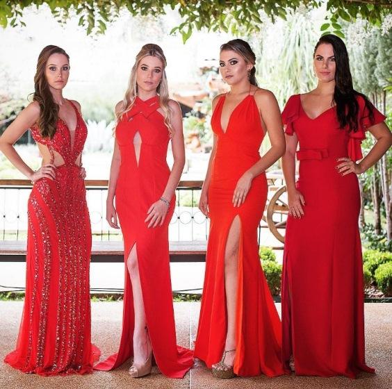 madrinhas de vestido de festa vermelho