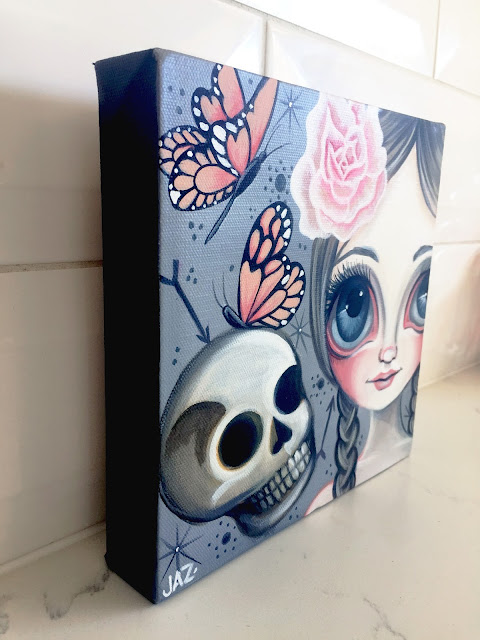 http://www.ebay.com.au/itm/ORIGINAL-PAINTING-Fragile-Beauty-Canvas-Big-Eye-Art-Skull-Flower-Girl-by-Jaz-/281913567274?