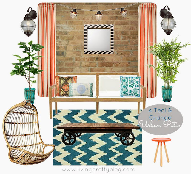 Patio mood board for an urban patio in teal & orange, featuring industrial table and hanging rattan chair