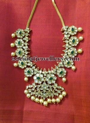 Emerald Polki Mango Necklace