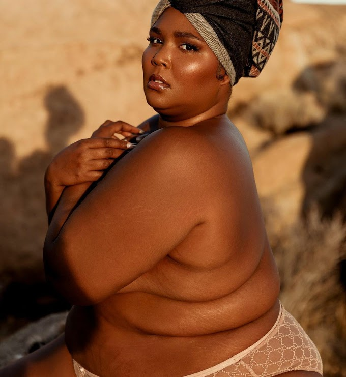 Lizzo poses in only her panties