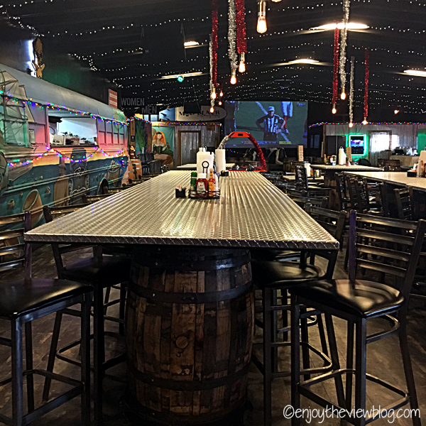tables & chairs inside a brewpub