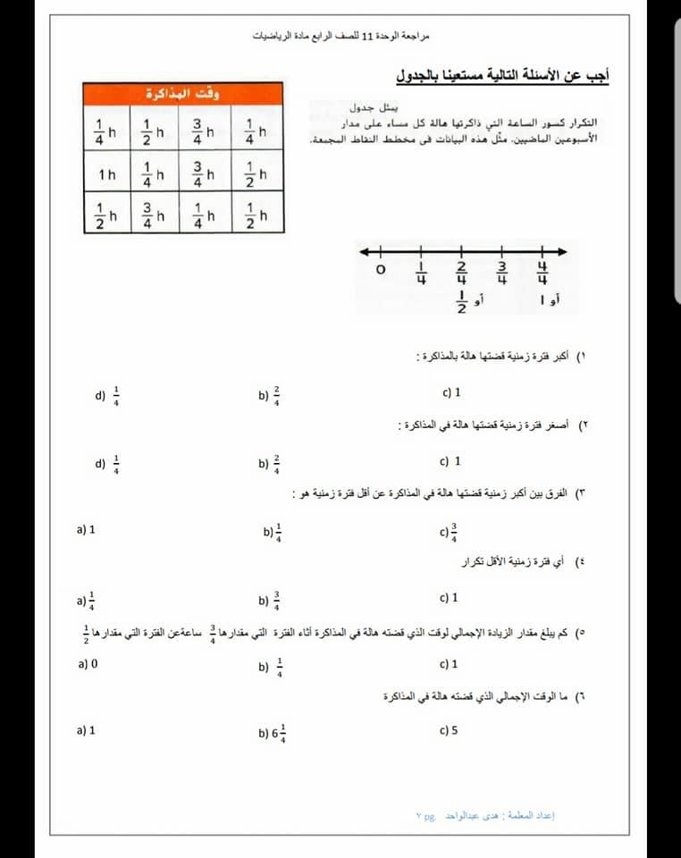 الوحدة 11 رياضيات الفصل الثالث