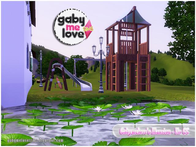 Gabymelove's Mansion |NO CC| ~ Lote Residencial, Sims 3. Parque Infantil, vista desde el lago.